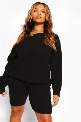 boohoo Plus Slash Neck Knitted Co-Ord