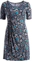 Glam Blue Abstract Faux Wrap Empire-Waist Dress - Plus