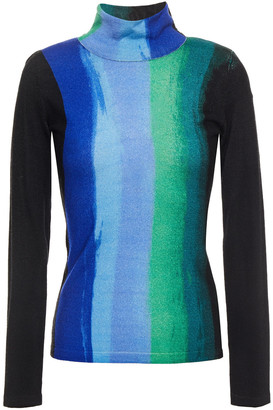 Diane von Furstenberg Brandy Printed Merino Wool Turtleneck Sweater
