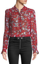 Rag & Bone Susan Button-Down Floral-Print Silk Blouse