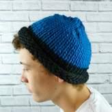 Moaning Minnie Mens Colour Block Beanie Hat Blues
