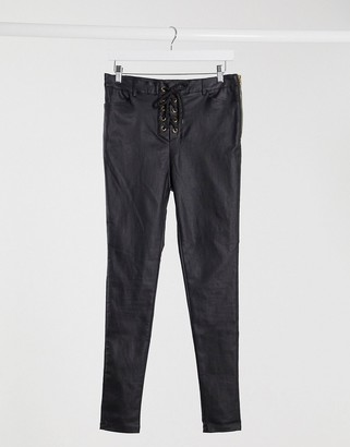 I SAW IT FIRST coated lace up jeans in black