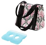Fit & Fresh Venice Insulated Lunch Bag with Reusable Ice Pack - Pink/Black Chandelier