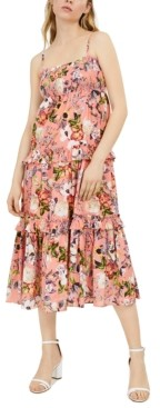 INC International Concepts Inc Petite Cotton Floral-Print Smocked Maxi Dress, Created for Macy's