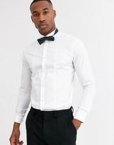 Jack and Jones textured bib tux shirt in white