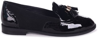 Linzi MAXIE - Black Patent Suede Classic Tassel Loafer