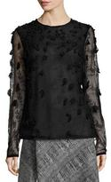 Jason Wu Embellished Crewneck Long-Sleeve Blouse, Black