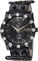Versus By Versace Women's 'MIAMI CRYSTAL' Quartz Stainless Steel and Leather Casual Watch, Color:Black (Model: S73060016)