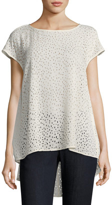 Eileen Fisher Confetti Laser-Cut Silk Top
