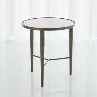 Global Views Hammered Marble Top 3 Legs End Table