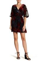 As U Wish Surplice V-Neck Burnout Velvet Floral Dress