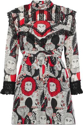Anna Sui Lace-trimmed Printed Cotton Mini Dress