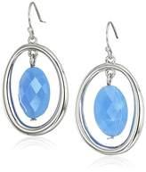 T Tahari Blue Bead Silver Drop Earrings
