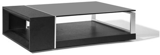 Beverly Hills Furniture Wenge Veneer And Black Glass Top Coffee Table With Metal Accent