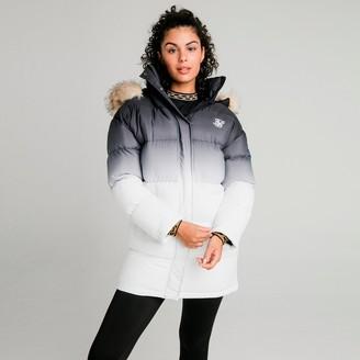 SikSilk Women's Faded Faux Fur Long Puffer Hooded Jacket