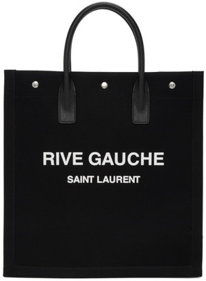 Saint Laurent Black and White Rive Gauche Shopping Tote