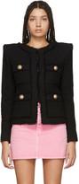 Balmain Black Collarless Tweed Jacket