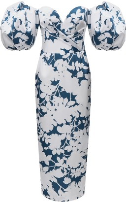 White And Blue Floral Print Midi Dress