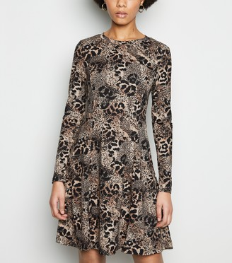 New Look Leopard Print Soft Touch Skater Dress