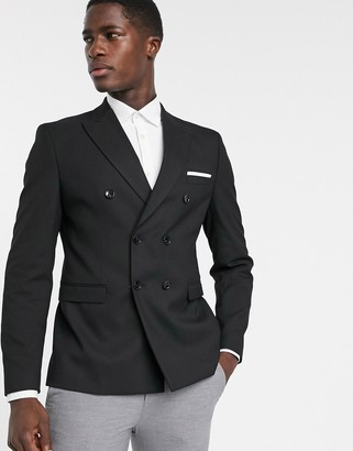 Selected double breasted peak lapel blazer in black
