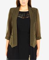 City Chic Trendy Plus Size Open-Front Blazer