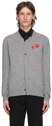 Comme des Garcons Grey Wool Double Heart Cardigan