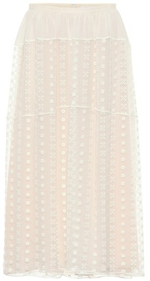 Chloé Embroidered silk crepon midi skirt