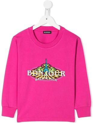 Balenciaga Kids Bonjour print T-shirt