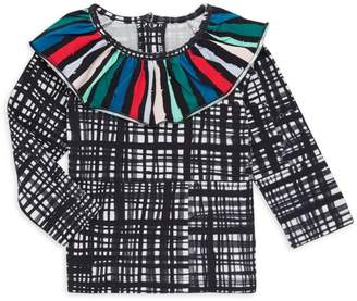 Noë & Zoë Berlin Baby Girl's Ruffled Abstract Check Top