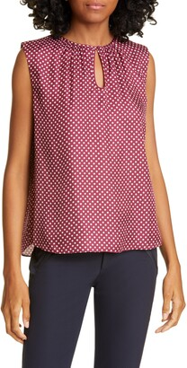 Rebecca Taylor Tailored by Deco Dot Sleeveless Silk Blend Blouse