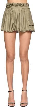 Saint Laurent Draped Silk Twill Shorts