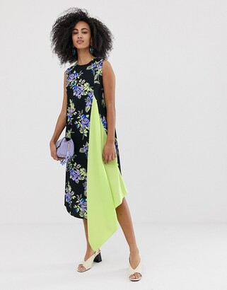 Asos sleeveless dress with lime pleat front-Multi