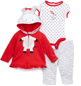 Buster Brown Red & White Cow Ruffle-Trim Hoodie Set - Infant