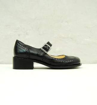 Liebling - 1078 Black Leather Mary Janes Shoes - 37