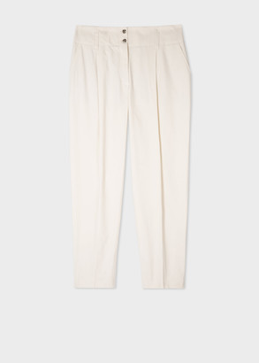 Paul Smith Women's Cream Organic Cotton Relaxed Pleated Chinos