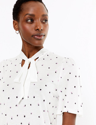 Marks and Spencer Printed Tie Neck Blouse