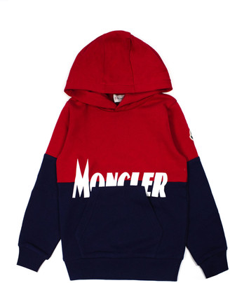 Moncler Red And Blue Cotton Hoodie