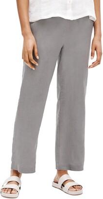 Eileen Fisher Straight Leg Organic Linen Ankle Pants