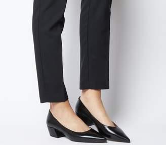 Office Matchmaker Block Court Heels Black Groucho Leather