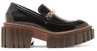 Stella McCartney Emilie Chain-strap Faux-leather Platform Loafers - Black