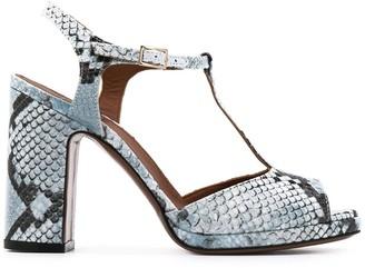 L'Autre Chose python-effect T-strap sandals