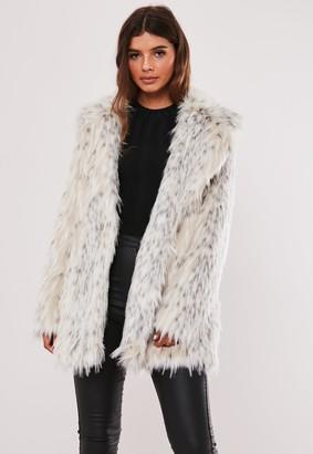 Missguided Petite Premium Cream Spot Faux Fur Coat
