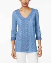 JM Collection Sequined Lace Cotton Top, Created for Macy's
