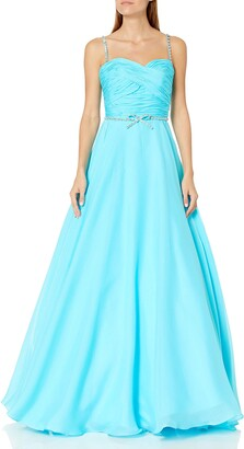 Mac Duggal Women's Long Plunging V Neck Dress with Crystal Beaded Bodice Cap Sleeve and Full Chiffon Skirt with Side Slit