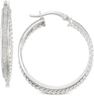 Simone I. Smith Glitter Twist Hoop Earrings in Sterling Silver