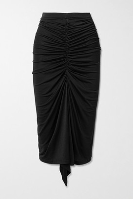 Dodo Bar Or Terra Draped Ruched Stretch-satin Crepe Midi Skirt - Black