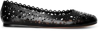 Alaia Black laser cut leather ballet flat