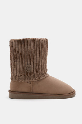 Ardene Faux Suede Cable Knit Boots - Shoes |