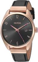 Nixon Women's 'Bullet Leather Luxe' Quartz Stainless Steel Casual Watch, Color:Black (Model: A11851098)