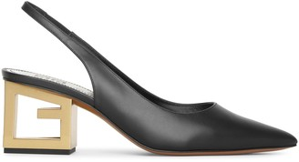 Givenchy Triangle black leather slingback pumps